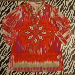 Chico's Tunic With Embellished Neck - LIKE NEW!